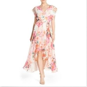 Eliza J Maxi Dress Pink Faux Wrap Floral Airy 22W